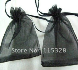 Free Shipping Wholesale 100pcs/lot 7x9cm Black Drawable Organza Jewelry Packaging Wedding Gift Bags&Pouches(China (Mainland))