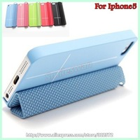 New arrival 5 colors smart protective cover cases for Iphone 5 5G stand function Free shipping