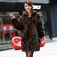 2013 marten overcoat female fur mink outerwear fight mink fur overcoat