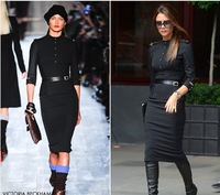 Free shipping, autumn and winter victoria  beckham star style slim waist slim hip half sleeve one-piece dress black long