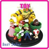 Super Mario Bowser Princess Yoshi Luigi Toad Goomba Set Collection Figure TG0912
