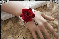 gothic jewelry vintage rose bracelet red flower white lace lolita charm bracelets fashion Bracelets & Bangles free shipping