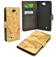 10Pcs/lot Yellow Stand Flip Cover Leather Case Purse for Samsung Galaxy Note 2 II N7100 Map