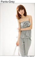 Women's Trendy Gray Off The Shoulder Loose  Chiffon Jumpsuit - 12832101