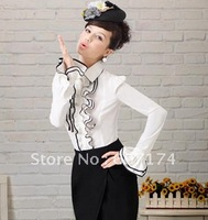 2013 European style women's white black ruffle puff long-sleeve slim shirt fashion OL shirt Size:S-XL