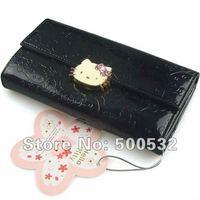 Promotion Freeshipping hot sale Hello Kitty PU wallet Black Cluch wallet Cartoon womens burse Long style billfold Women's wallet