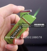 Free Shipping $12(mix order) chewing gum lighter butance gas Windproof cigarette lighter Green Flame big fun! Trick Toy Gift