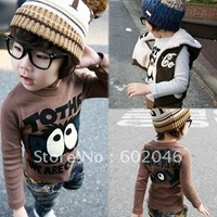 2012 autumn outfit new big eyes male children's wear female children's wear children long sleeve cotton T-shirt 7+free shipping