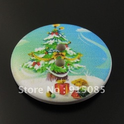 Sewing Scrapbooking Craft Circular Wood Button Christmas Tree Gifts 30MM 50PCS 36164 30*30*5mm(China (Mainland))
