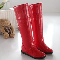 NEW 2012 new arrival PU flat heel boots SIZE  34-41 women knee high boots BLACK/RED/WHITE  MFL-169