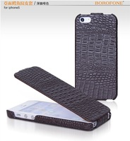 Hot Sale Original BOROFONE Crocodile Pattern Flip Real Leather Case For Iphone 5 Free Shipping MOQ 1PCS 10 Colors Available