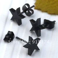 10pcs Black Star Stainless Steel Mens Earrings Ear Stud Unisex Punk Gothic Fashion Free shipping