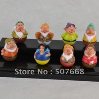 Free shipping High Quality Lovely Princess Snow White and the Seven Dwarfs PVC Figures Tumbler Home Decoration(8pcs/set)