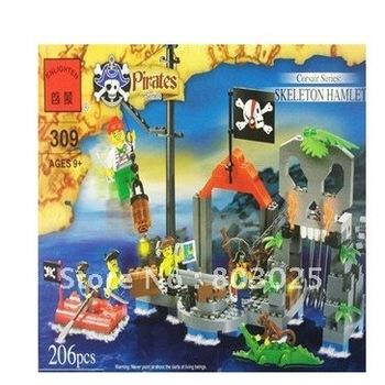 Enlighten 206pcs/set DIY educational pirates series skeleton hamlet blocks toy set ,free shipping