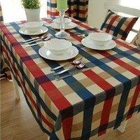 free shipping Edinburgh European style 100% cotton 90cm*140cm table covers decorations vintage stripe grid  tablecloths
