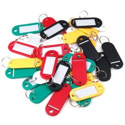 100pcs/pack Plastic Key Ring ID Tags Name Card Label Language Fob Split Keychain[99588](China (Mainland))