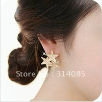 <Attention!Free shipping for Min.order $15,can mix order>Korean new bright 3 stars with full imitation diamond earrings E272