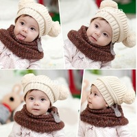 1X Fashion Korean Baby Love Dual Ball Girls&Boys Knit Sweater Cap Hat C/R H0111