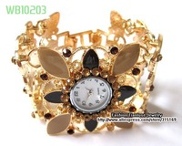1pcs/lot, Wholesale And Retail Gold Tone Enamel Crystal Ladies Trendy Watches, Free Shipping