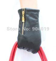 Women Genuine Lambskin Leather Zipper Wrist Gloves Driving Evening Gloves
