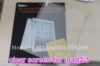 20pcs/lot Free shipping Best Price Quality Nice Package Screen Protector Screen Saver For ipad 2 ipad 3