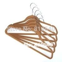 New type and strong  ABS plastic velvet flocked non-slip coat hanger with tie bar