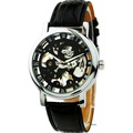 Stylish Elegant Gentleman Quartz Pointer Leather Strap Hollow Face Movement Visible Vogue High Quality Watches WU8049