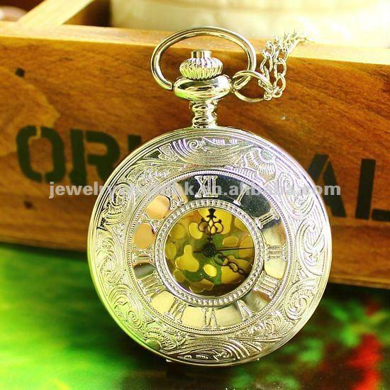 Quartz movement antique Roman numeral case pocket watch(China (Mainland))
