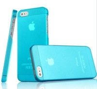 Free Shipping matte transparent case 0.5mm ultra thin crystal case MIX COLORS for iphone 5