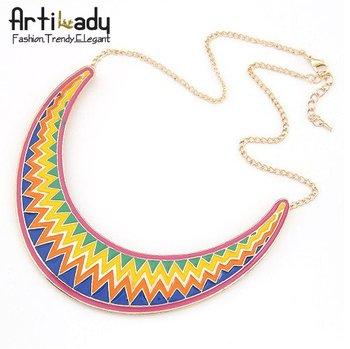 Artilady neon multi color arch  necklaces fashion antic gold moon deisgn necklaces