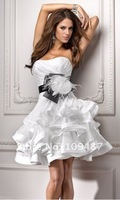 White Organza Ball Gown Black Ribbon  Design Sexy Short Wedding Dresses 2013