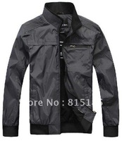 free shipping New Mens fall long-sleeved jacket thin polyester leisure jacket