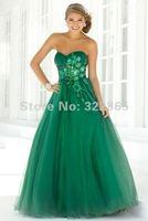 Free Shipping Hot Sale Sweetheart Neckline Ruffle Applique Beads Working Green Organza Satin Floor Length Prom Dress pd20120258
