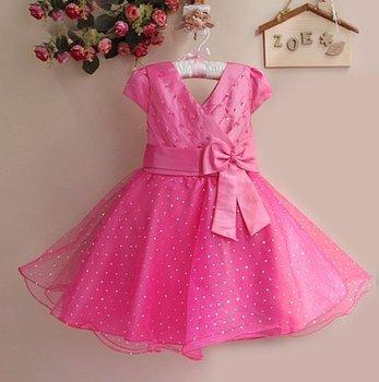 New 2014 Party Girl Dress Kids Dresses Fashion Hot Pink Girl Dress with Bow Girl Party Dress GD21025-01H