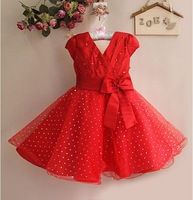 New 2014 Christmas Kids Dresses Eudora Red Girl Dress with Bow Children Party Dress GD21025-01R^^EI