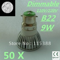 50pcs Dimmable High power B22 3x3W 9W 110V/220V led Light Lamp Downlight led bulb spotlight Free shipping UPS FEDEX and DHL