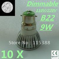 10pcs Dimmable High power B22 3x3W 9W 110V/220V led Light Lamp Downlight led bulb spotlight Free shipping UPS FEDEX and DHL