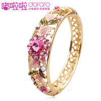 Beijing cloisonne gold plated bracelet fashion pink crystal female vintage bracelet birthday gift
