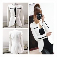 XXL Size New Black White Hit Color Spring Autumn Slim Jacket Women High-Grade Quality Lady Suit Free Shipping