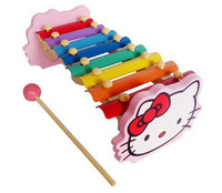 Child wooden 8 knock piano music toy kitten knock piano toy wool musical instrument toy