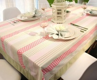 home decoration140cm*140cm cotton princess pink dots and stripe rectangle table cloths/linen/cover for the table