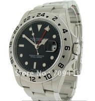 Stainless Steel Black Dial Mens Watch -- Automatic Movement