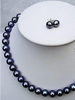 AA fashion Real 7-8MM black Pearl Jewellery Necklace Earring Set