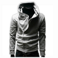Autumn and winter outerwear male oblique zipper with a hood sweatshirt Men long-sleeve outerwear men's clothing grey