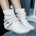 Beauty shoes 2012 ankle boots buckle flat heel women boots round toe boots
