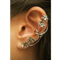 Min Order $10(Mix Order) Free Shipping, C012 ,New Punk Vintage Flower Rhinestone Clip Earring Fashion Ear Cuff