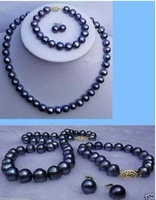 7-8mm black pearl earring necklace bracelet