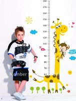 Wholesale Growth height Giraffe Children Wallpaper Mural Decal Decor Home Art Removable Craft 3D Wall Stickers DIY Free shipping