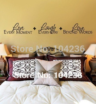 ZooYoo Factory Discount:Large Size Live Love Laugh English Quote/Vinyl Wall Decals 20*145cm/ Waterproof Car/Home Decor Sticker