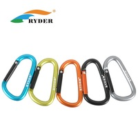 Free Shipping 6mm D-shape Aluminum Buckle Carabiner Clip Hook Climbing Mountaineering Equipment 20pcs/lot